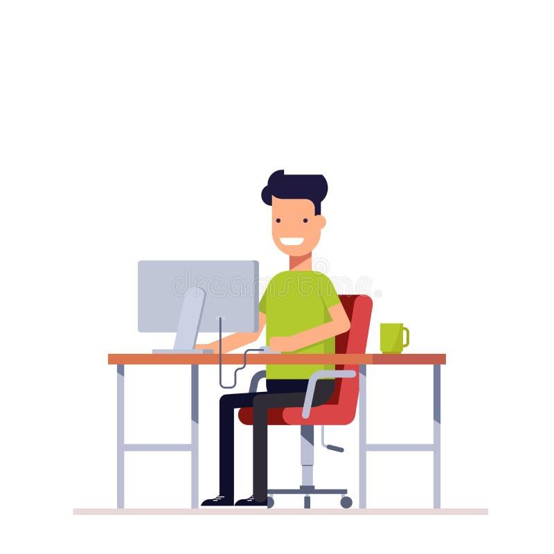 Ένας νέος υπάλληλος που εργάζεται στον υπολογιστή Προγραμματιστής ή freelancer εργασία στον εργασιακό χώρο διανυσματική απεικόνιση