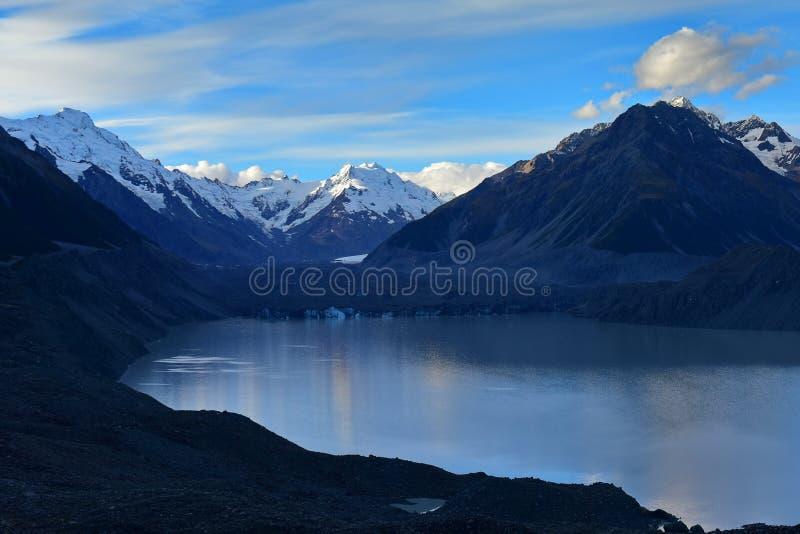 Ένας να συρρικνωθεί Tasman παγετώνας και περιβάλλοντα βουνά χιονιού στο Καντέρμπουρυ στοκ εικόνες με δικαίωμα ελεύθερης χρήσης