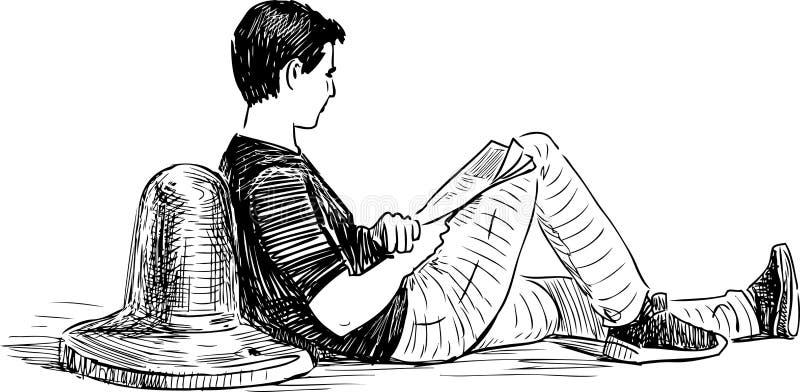 Ένας νεαρός άνδρας διαβάζει μια εφημερίδα σε ένα ανάχωμα απεικόνιση αποθεμάτων