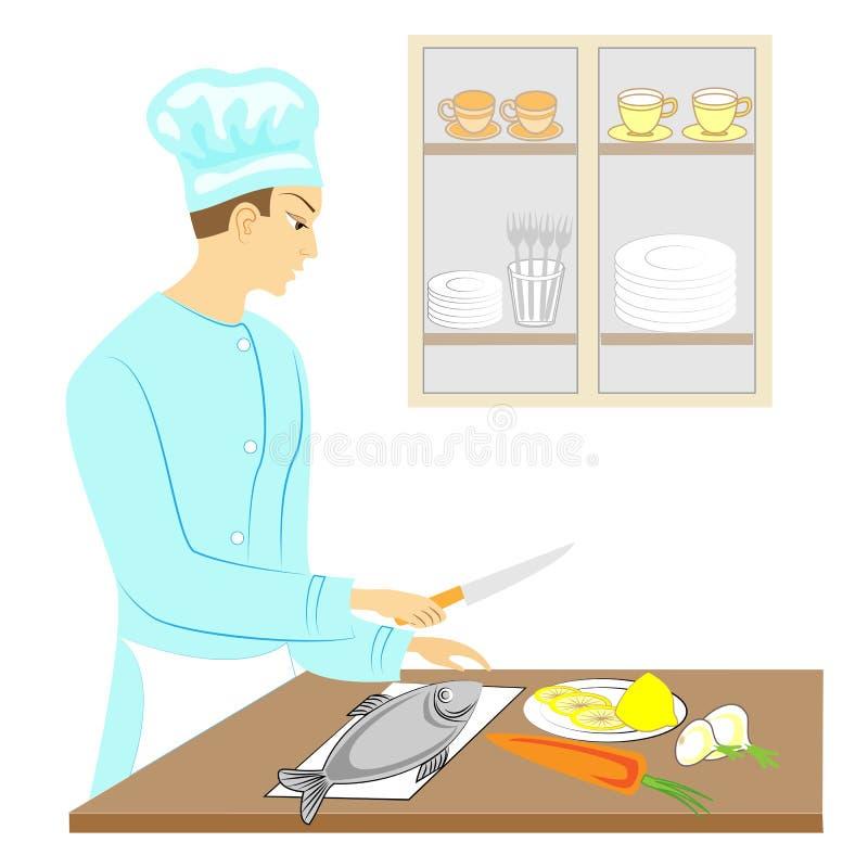 Ένας νεαρός άνδρας Ο τύπος καθαρίζει τα ψάρια, μάγειρες αυτό με τα λαχανικά Είναι επαγγελματικός μάγειρας r ελεύθερη απεικόνιση δικαιώματος