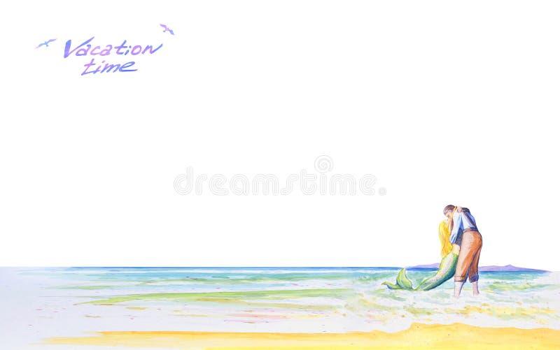 Ένας νεαρός άνδρας φιλά μια γοργόνα θαλασσίως Ρομαντικό ελαφρύ υπόβαθρο για το σχέδιό σας Χρόνος διακοπών επιγραφής watercolor απεικόνιση αποθεμάτων