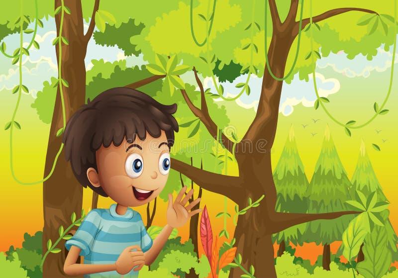 Ένας νεαρός άνδρας στο πράσινο δάσος διανυσματική απεικόνιση