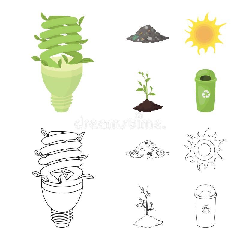 Ένας οικολογικός λαμπτήρας, ο ήλιος, μια απόρριψη απορριμάτων, ένας νεαρός βλαστός από τη γη Εικονίδια βιο και συλλογής οικολογία ελεύθερη απεικόνιση δικαιώματος