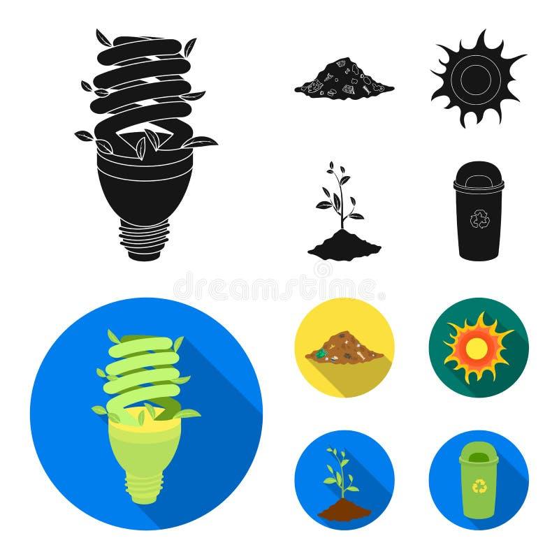 Ένας οικολογικός λαμπτήρας, ο ήλιος, μια απόρριψη απορριμάτων, ένας νεαρός βλαστός από τη γη Εικονίδια βιο και συλλογής οικολογία απεικόνιση αποθεμάτων