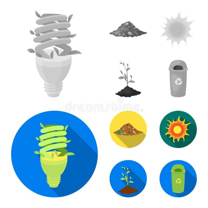 Ένας οικολογικός λαμπτήρας, ο ήλιος, μια απόρριψη απορριμάτων, ένας νεαρός βλαστός από τη γη Εικονίδια βιο και συλλογής οικολογία διανυσματική απεικόνιση