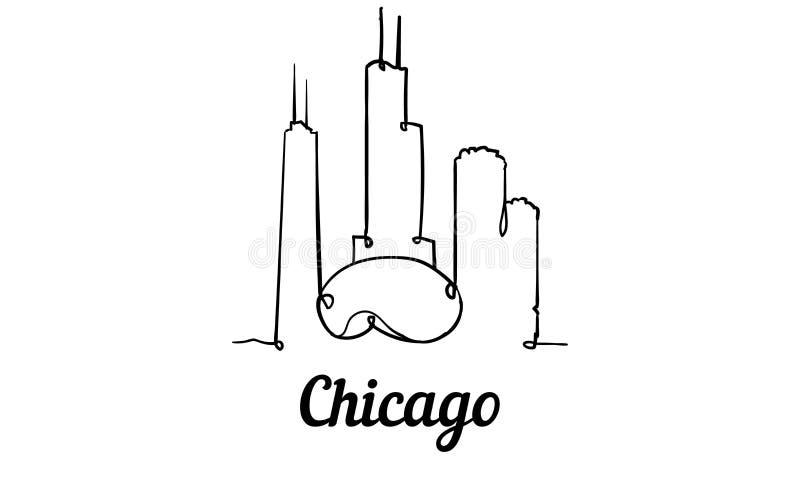 Ένας ορίζοντας του Σικάγου ύφους γραμμών Απλό σύγχρονο minimaistic διάνυσμα ύφους απεικόνιση αποθεμάτων