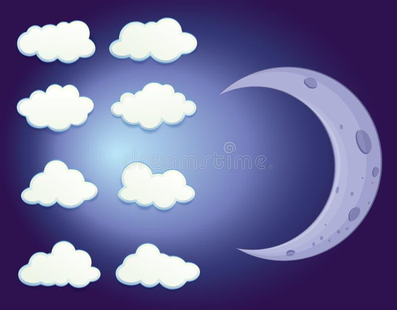 Ένας ουρανός με τα σύννεφα και ένα φεγγάρι απεικόνιση αποθεμάτων