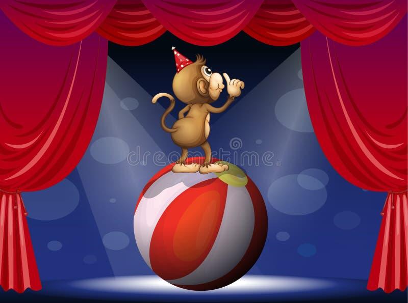 Ένας πίθηκος που αποδίδει στο τσίρκο διανυσματική απεικόνιση
