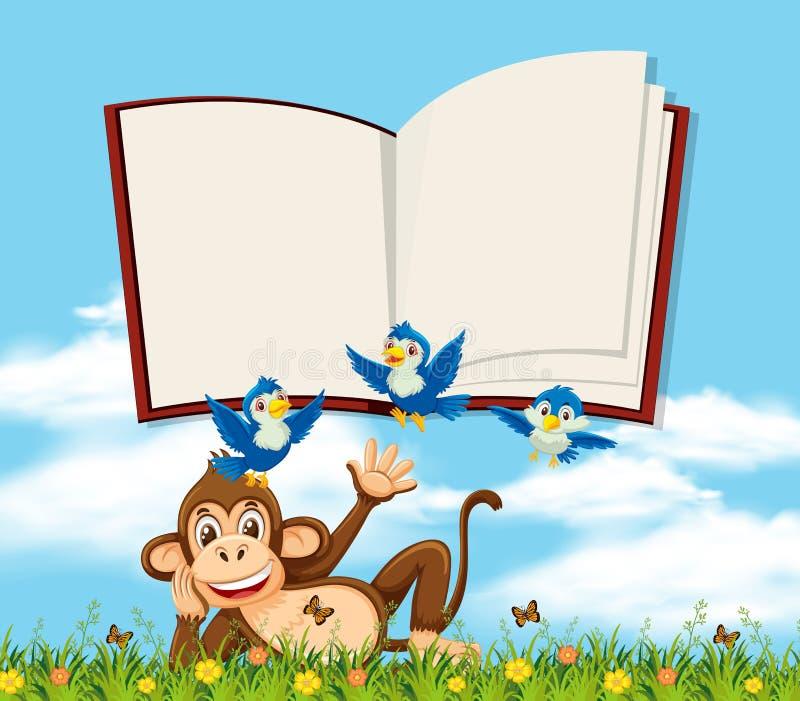 Ένας πίθηκος στη φύση με το κενό πρότυπο βιβλίων απεικόνιση αποθεμάτων