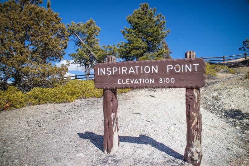 Ένας πίνακας περιγραφής για το υψηλότερο σημείο στο εθνικό πάρκο φαραγγιών του Bryce στοκ εικόνες