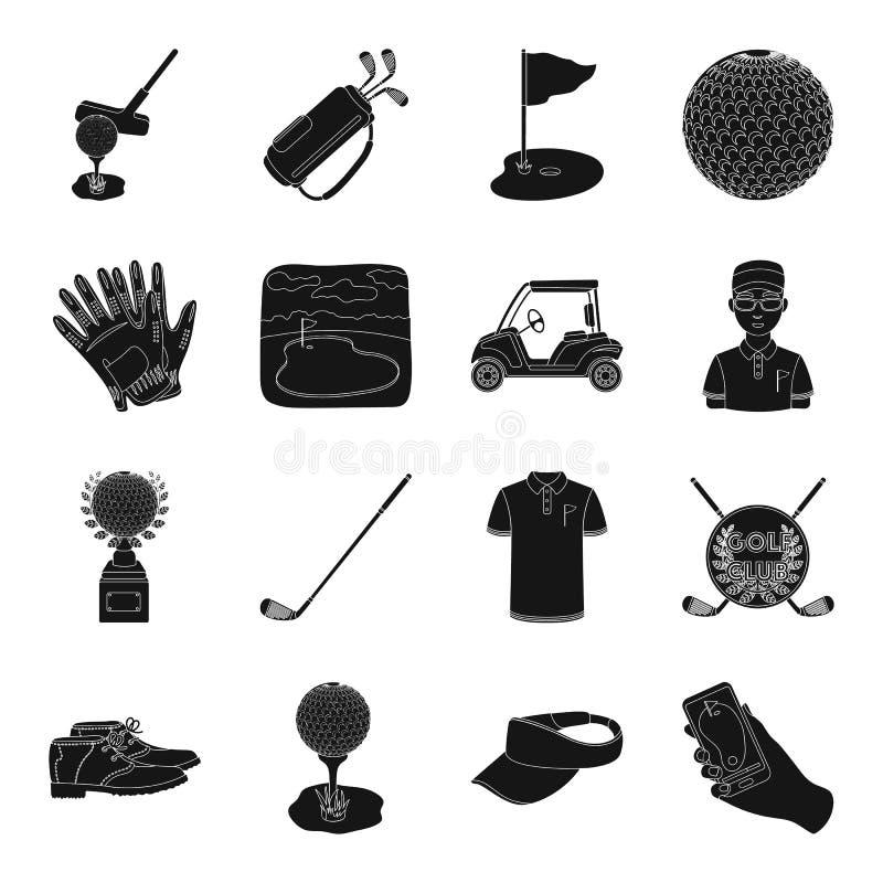 Ένας παίκτης γκολφ, μια σφαίρα, μια λέσχη και άλλες ιδιότητες γκολφ Καθορισμένα εικονίδια συλλογής γκολφ κλαμπ στο μαύρο απόθεμα  απεικόνιση αποθεμάτων