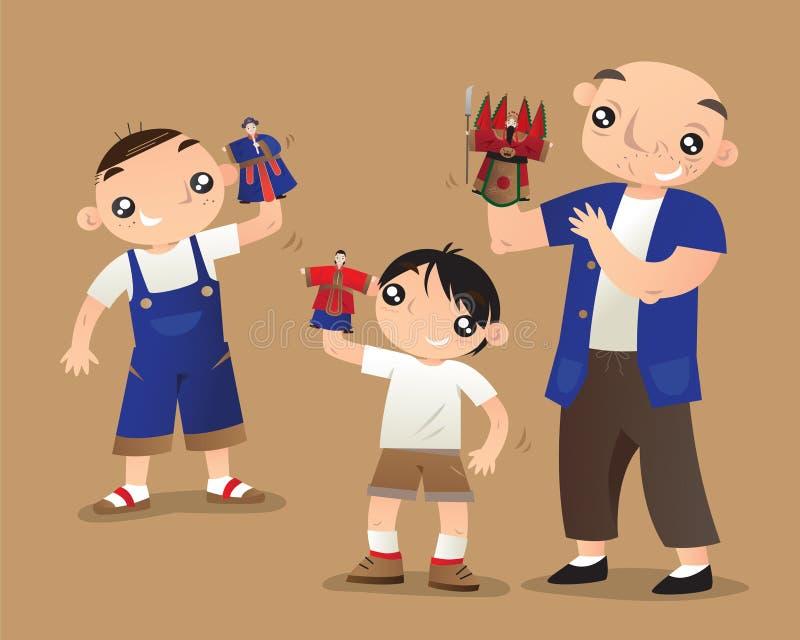 Ένας παλαιός κινεζικός κύριος διδάσκει δύο παιδιά πώς να ελέγξει τις μ διανυσματική απεικόνιση