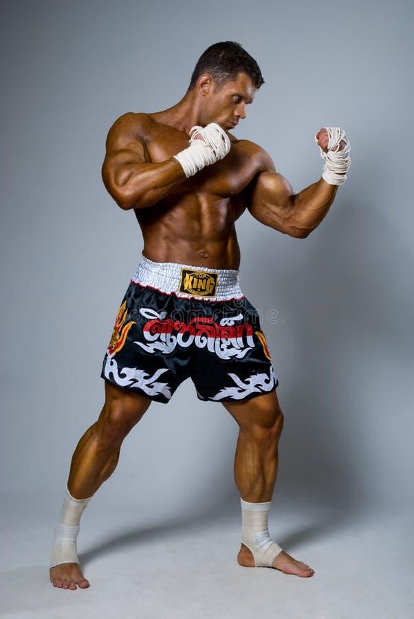 Ένας πεπειραμένος μαχητής kickboxer σε μια θέση πάλης. στοκ φωτογραφίες με δικαίωμα ελεύθερης χρήσης