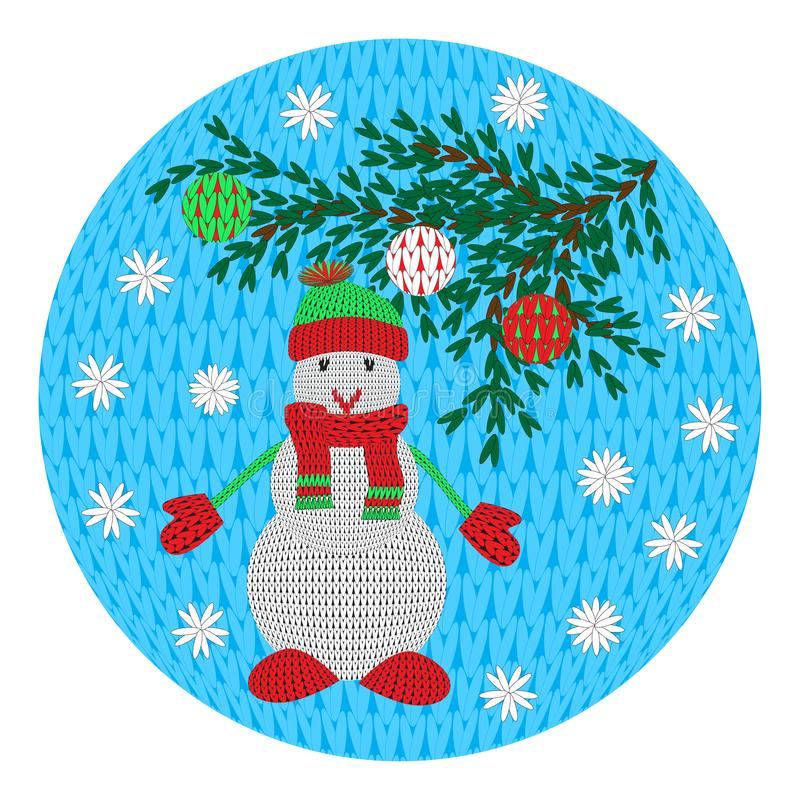 Ένας πλεκτός χιονάνθρωπος σε ένα μαντίλι με ένα καπέλο και γάντια, ένας κλάδος σε ένα στρογγυλό υπόβαθρο Για τη διακόσμηση, κάρτε διανυσματική απεικόνιση