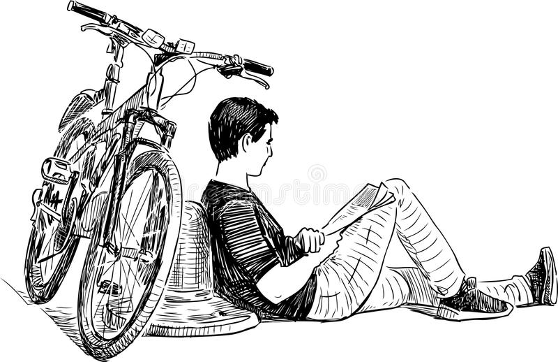 Ένας ποδηλάτης που στηρίζεται στο ανάχωμα πόλεων ελεύθερη απεικόνιση δικαιώματος