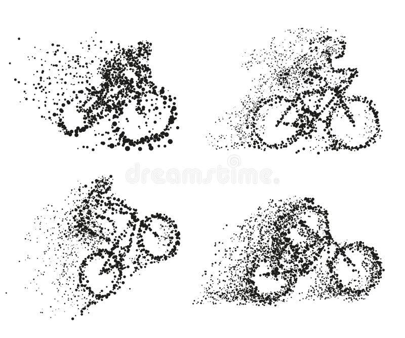 Ένας ποδηλάτης οδηγά μια διάφορη σκιαγραφία μορίων ποδηλάτων διανυσματική απεικόνιση