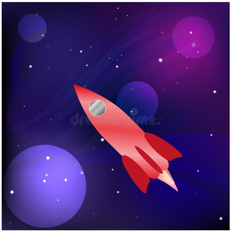 Ένας πύραυλος στο διάστημα γαλαξίας επίσης corel σύρετε το διάνυσμα απεικόνισης διανυσματική απεικόνιση