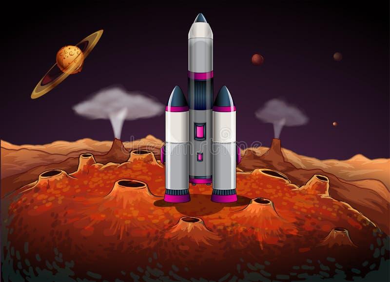 Ένας πύραυλος στο outerspace με τους πλανήτες διανυσματική απεικόνιση