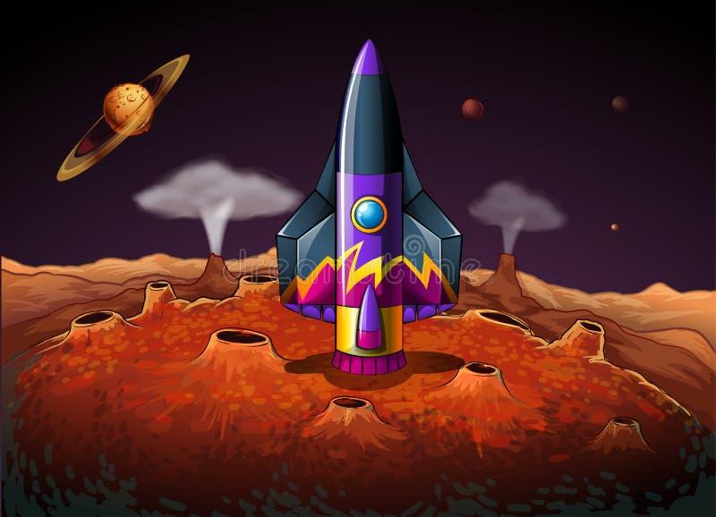 Ένας πλανήτης με ένα αεροσκάφος διανυσματική απεικόνιση