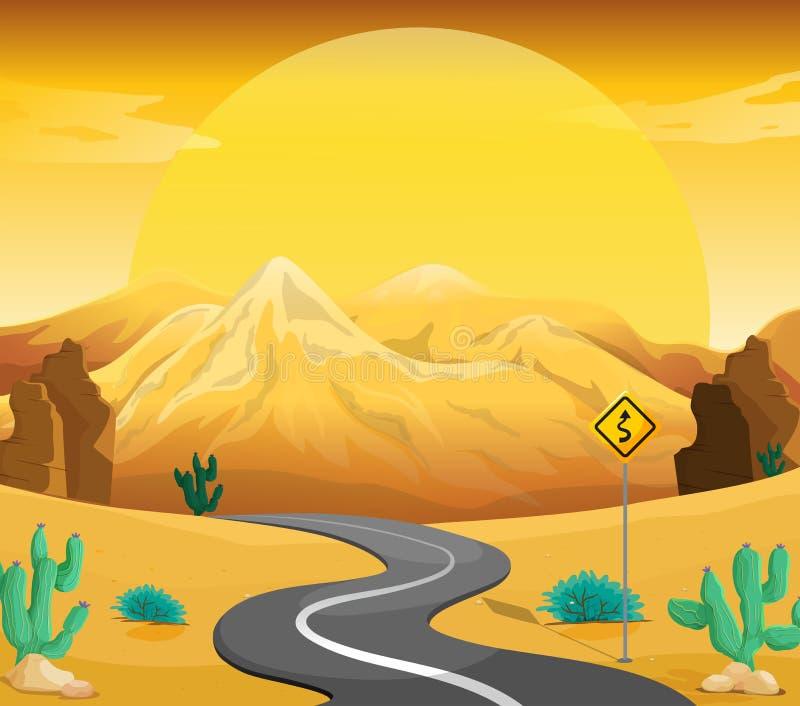 Ένας δρόμος με πολλ'ες στροφές στην έρημο διανυσματική απεικόνιση
