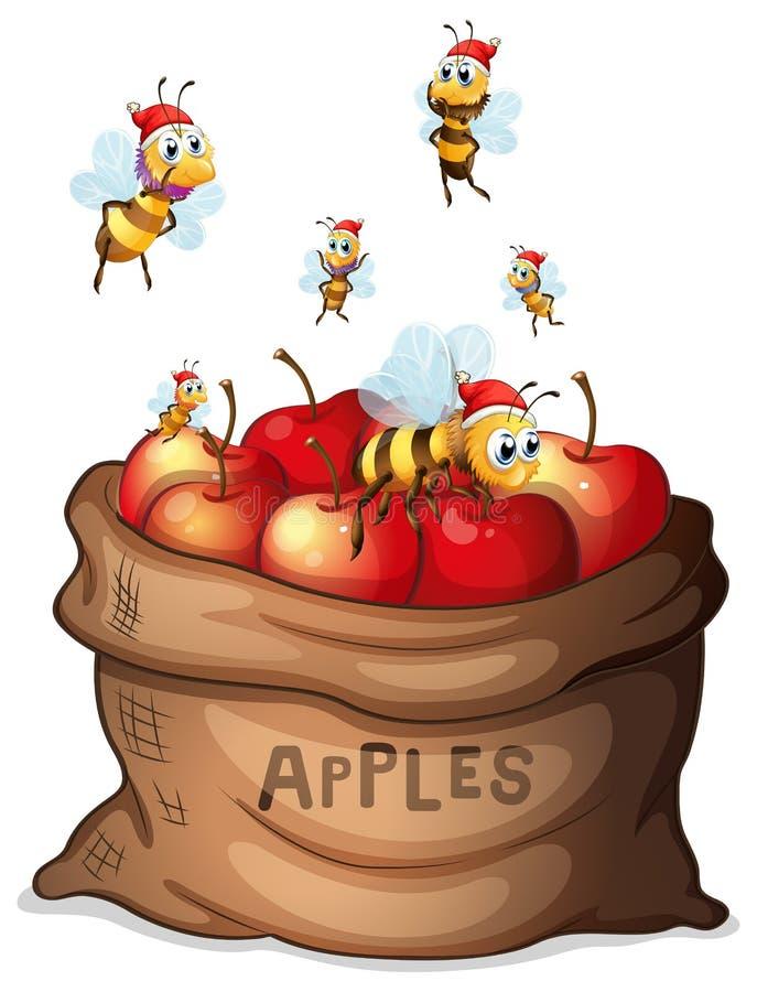 Ένας σάκος του μήλου με τις μέλισσες ελεύθερη απεικόνιση δικαιώματος