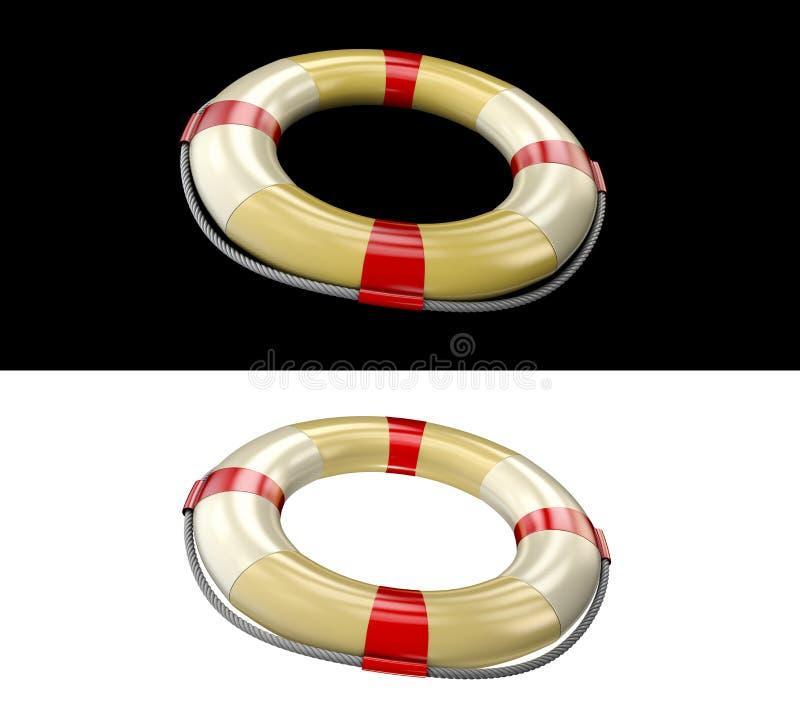 Ένας σημαντήρας ζωής για την ασφάλεια εν πλω, τρισδιάστατη απόδοση του lifebuoy δαχτυλιδιού απεικόνιση αποθεμάτων