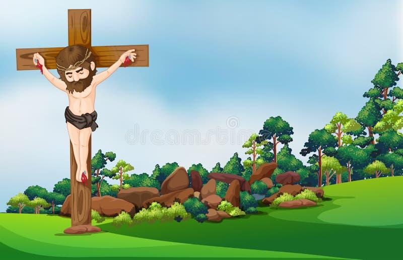 Ένας σταυρός στο δάσος διανυσματική απεικόνιση