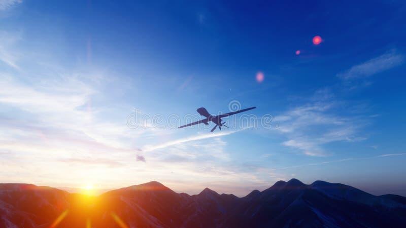 Ένας στρατιωτικός κηφήνας πετά πέρα από μια πεδιάδα βουνών ερήμων στο ηλιοβασίλεμα r διανυσματική απεικόνιση