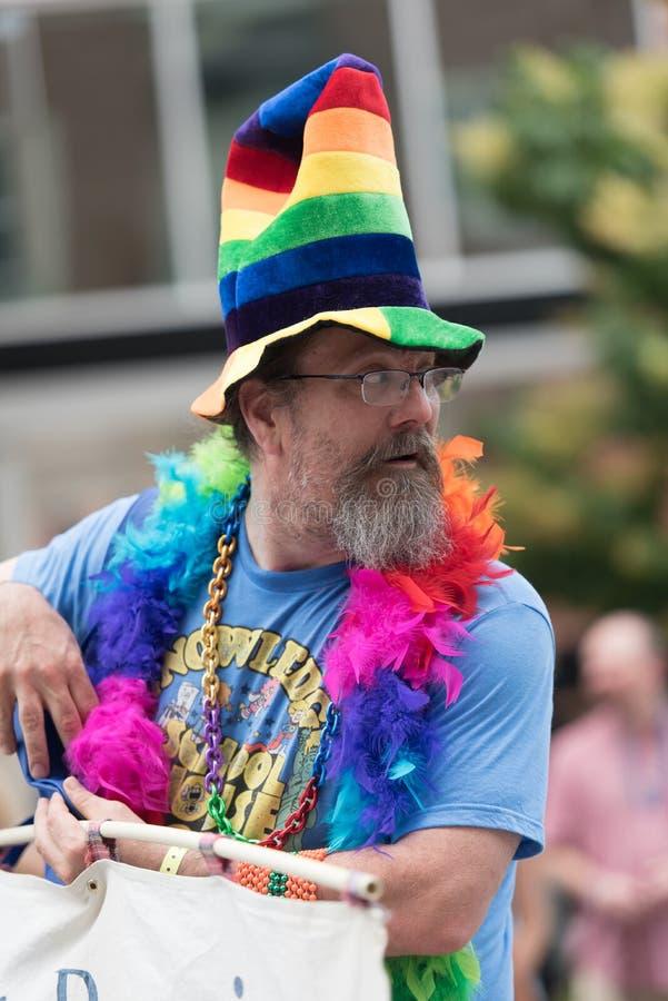 Ένας συμμετέχων Des Moines Gay στην παρέλαση υπερηφάνειας στοκ φωτογραφία με δικαίωμα ελεύθερης χρήσης