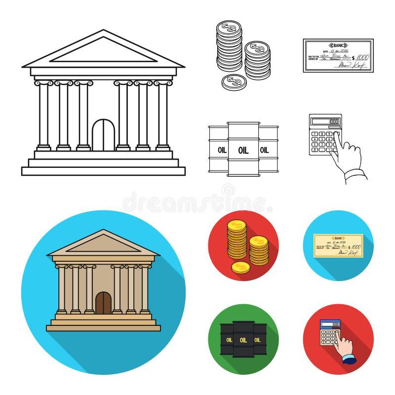 Ένας σωρός των νομισμάτων, ένας έλεγχος τραπεζών, ένας υπολογιστής, μαύρος χρυσός Καθορισμένα εικονίδια συλλογής χρημάτων και χρη ελεύθερη απεικόνιση δικαιώματος