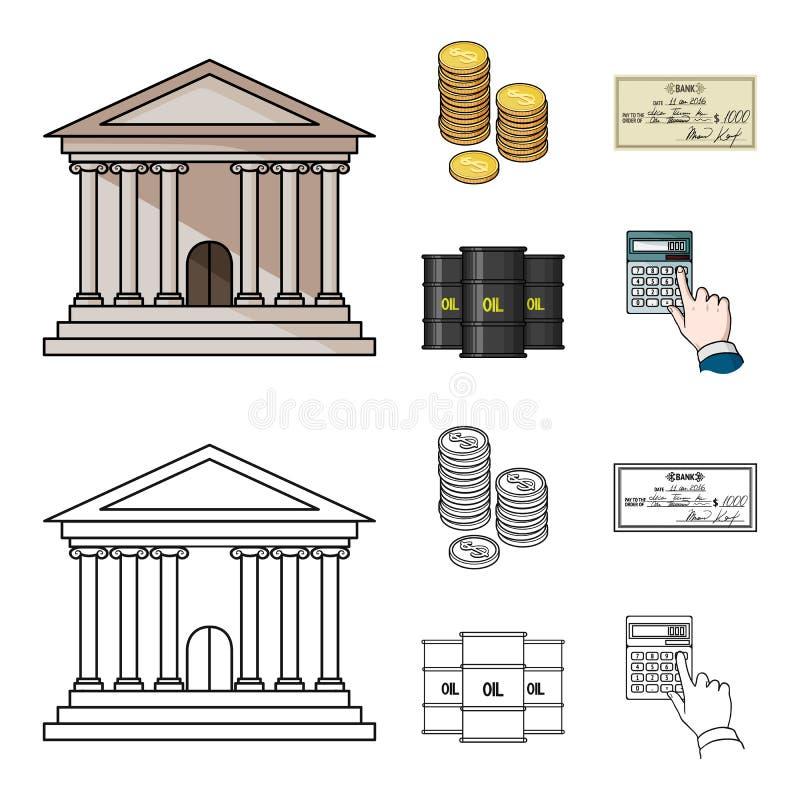 Ένας σωρός των νομισμάτων, ένας έλεγχος τραπεζών, ένας υπολογιστής, μαύρος χρυσός Καθορισμένα εικονίδια συλλογής χρημάτων και χρη διανυσματική απεικόνιση