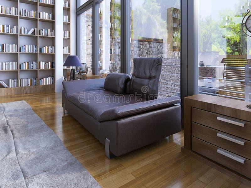 Ένας σύγχρονοι καναπές και ένας λαμπτήρας lether στο ξύλινο πάτωμα στοκ φωτογραφία με δικαίωμα ελεύθερης χρήσης