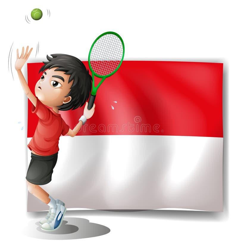 Ένας τενίστας με την ινδονησιακή σημαία ελεύθερη απεικόνιση δικαιώματος