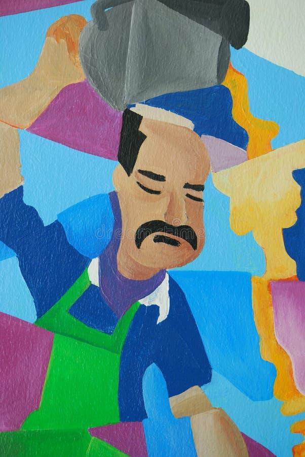 Ένας τοίχος που χρωματίζει παρουσιάζοντας ινδικό άτομο που κατασκευάζει το τργμένο τσάι στοκ φωτογραφία με δικαίωμα ελεύθερης χρήσης