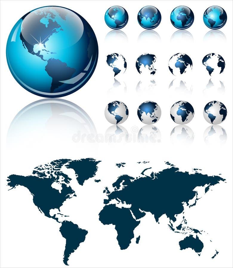 Ένας τρισδιάστατος σκούρο μπλε παγκόσμιος χάρτης στο λαμπρό σχέδιο εικονιδίων με τέσσερις διαφορετικές απόψεις απεικόνιση αποθεμάτων