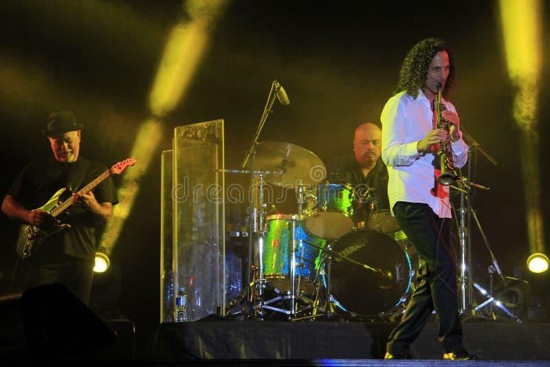 Ένας τυπικός μουσικός κομμωτικής από το Σιάτλ των Ηνωμένων Πολιτειών, ο Kenny G στοκ εικόνα με δικαίωμα ελεύθερης χρήσης