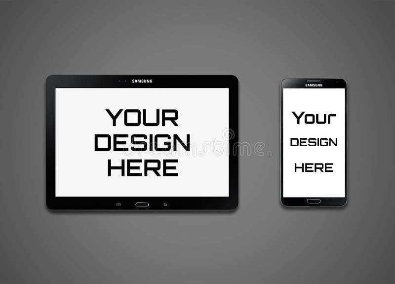 Ένας υψηλός - ποιότητα Samsung κινητή και πρότυπο ταμπλετών απεικόνιση αποθεμάτων