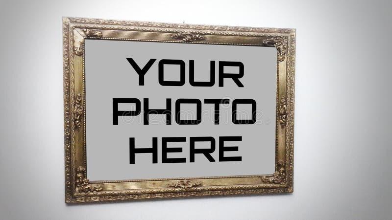 Ένας υψηλός - πρότυπο ` πλαισίων ποιοτικών φωτογραφιών ένα παλαιό πλαίσιο που κρεμά σε έναν τοίχο ` διανυσματική απεικόνιση