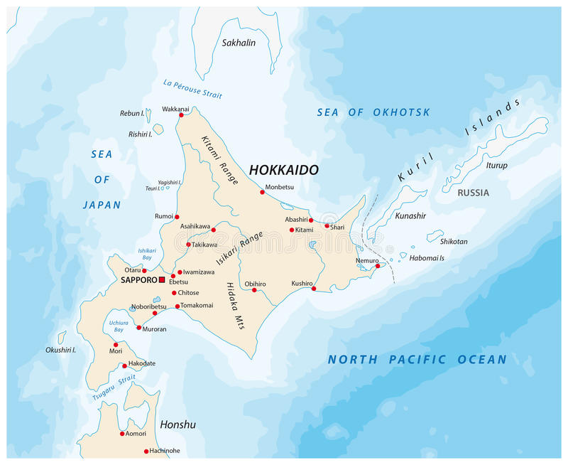 Ένας χάρτης του βόρειου ιαπωνικού νησιού Hokkaido απεικόνιση αποθεμάτων