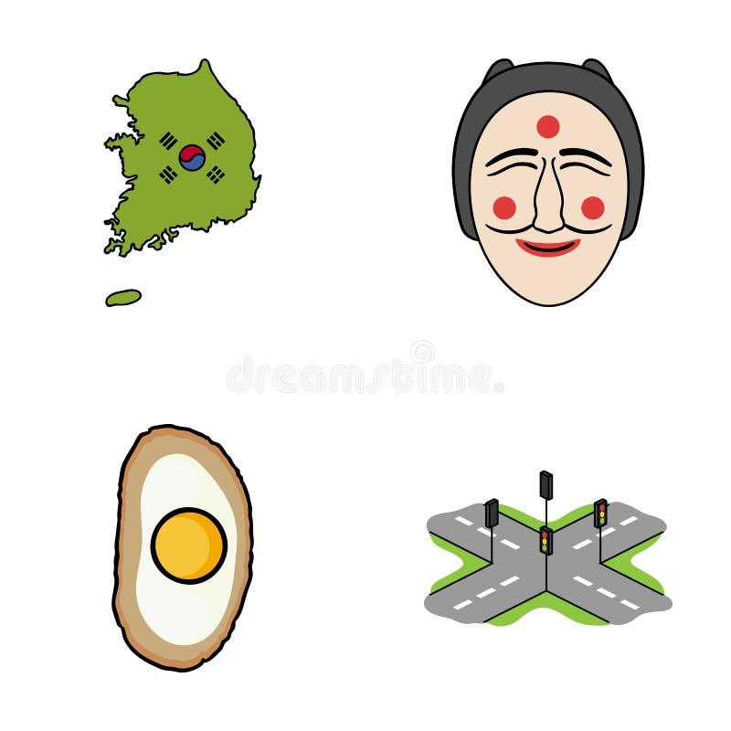 Ένας χάρτης του κράτους με μια σημαία, μια κορεατική μάσκα, ένα εθνικό γεύμα αυγών, σταυροδρόμια με τους φωτεινούς σηματοδότες η  ελεύθερη απεικόνιση δικαιώματος