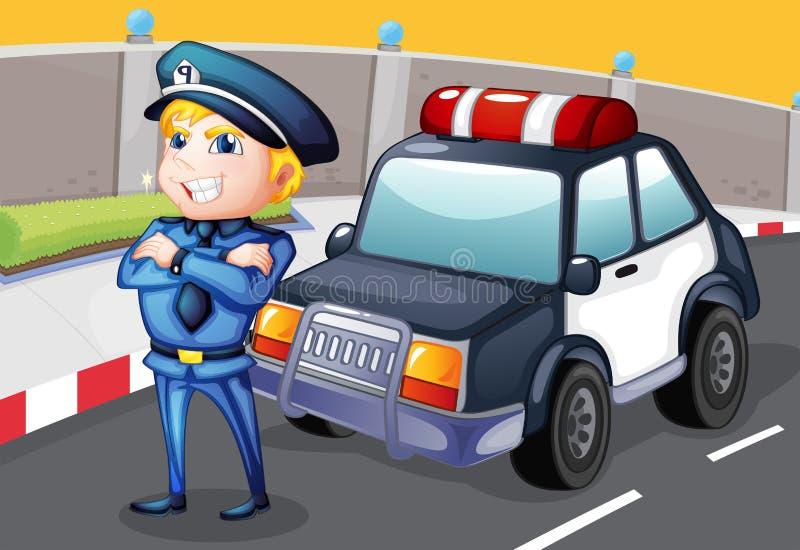 Ένας χαμογελώντας αστυνομικός που στέκεται μπροστά από ένα περιπολικό της Αστυνομίας διανυσματική απεικόνιση