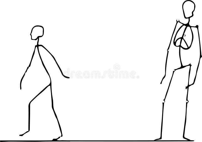 Ένας χαρακτήρας που σύρεται με μια ενιαία γραμμή μολυβιών περπατά ελεύθερη απεικόνιση δικαιώματος