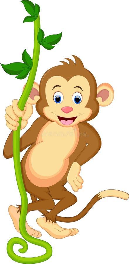 Ένας χαριτωμένος πίθηκος που ταλαντεύεται από τις αμπέλους διανυσματική απεικόνιση