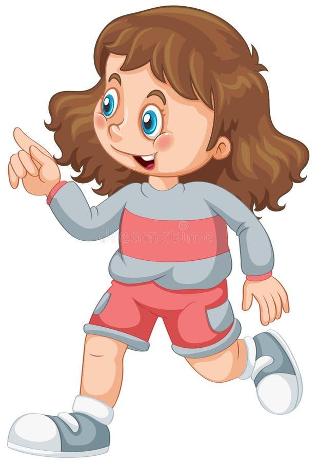 Ένας χαριτωμένος χαρακτήρας κοριτσιών απεικόνιση αποθεμάτων