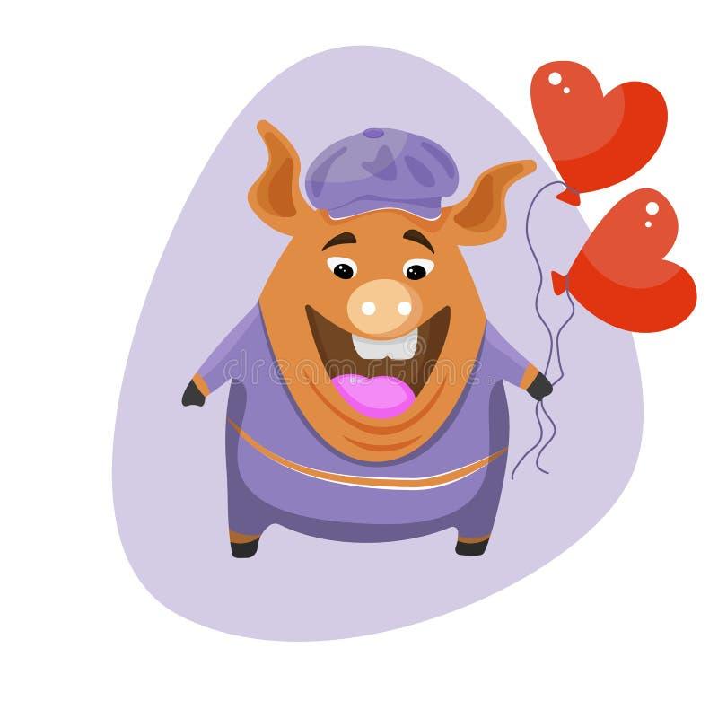 Ένας χαριτωμένος χοίρος κινούμενων σχεδίων που κρατά ένα μπαλόνι με μορφή μιας καρδιάς ελεύθερη απεικόνιση δικαιώματος