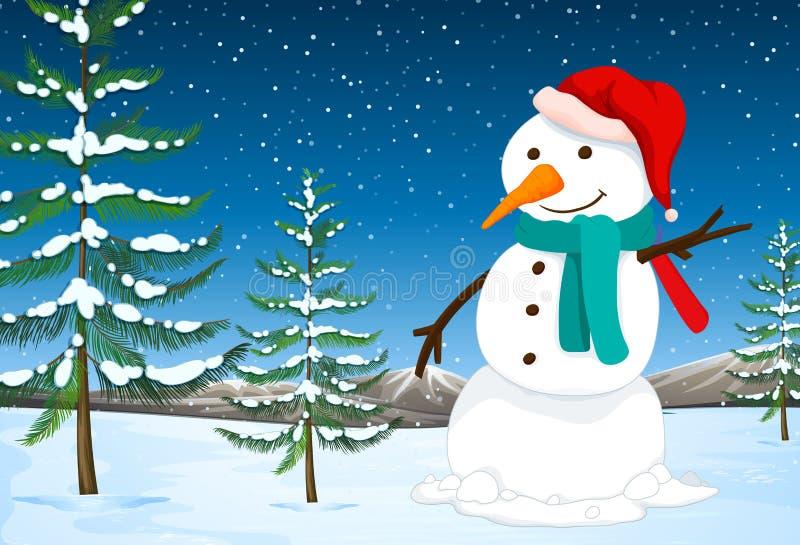 Ένας χιονάνθρωπος στη φύση ελεύθερη απεικόνιση δικαιώματος