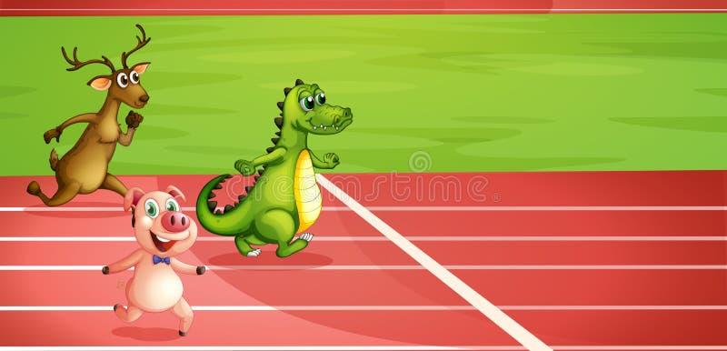 Ένας χοίρος, ένας κροκόδειλος και ένα τρέξιμο ελαφιών ελεύθερη απεικόνιση δικαιώματος