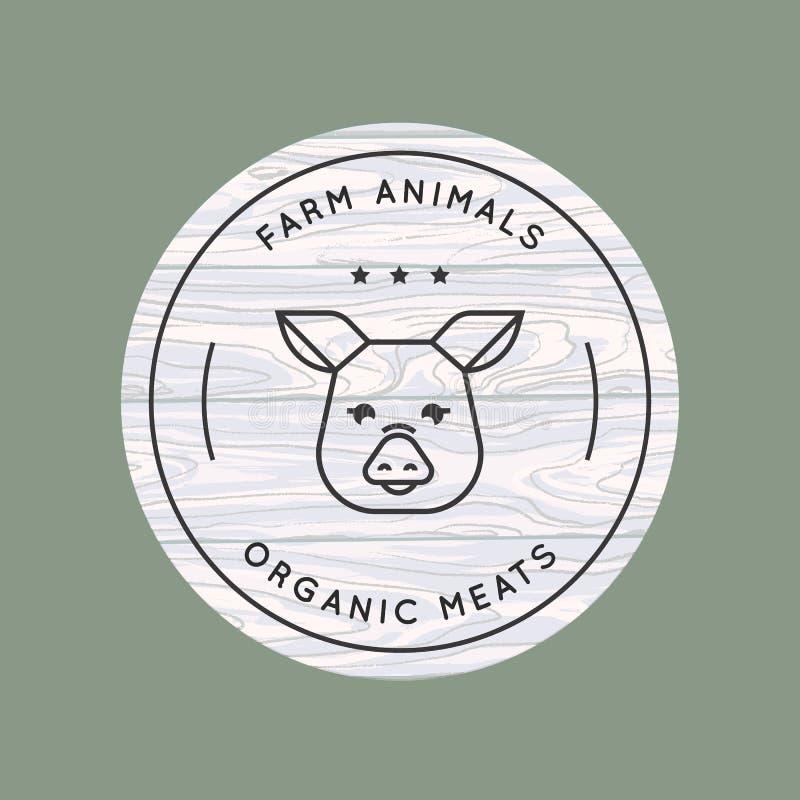 Ένας χοίρος επισύρεται την προσοχή σε ένα γραμμικό ύφος για ένα αγροτικό λογότυπο σε ένα υπόβαθρο της διανυσματικής ξύλινης σύστα ελεύθερη απεικόνιση δικαιώματος