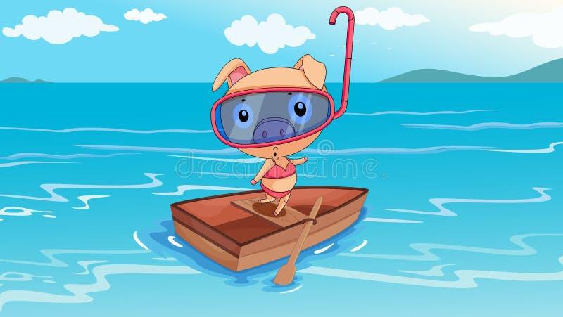 Ένας χοίρος που οδηγά σε μια βάρκα διανυσματική απεικόνιση