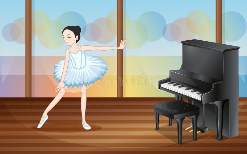 Ένας χορευτής μπαλέτου κοντά στο πιάνο απεικόνιση αποθεμάτων